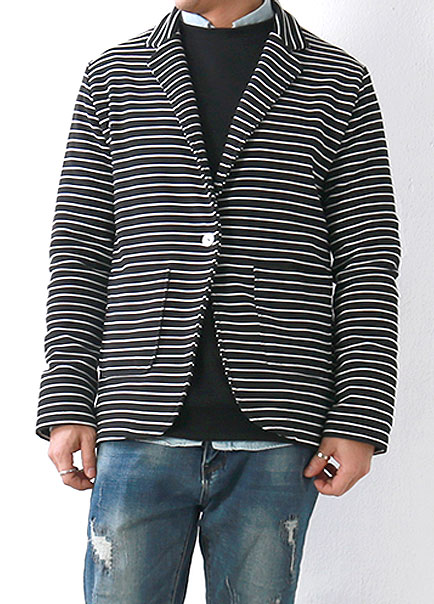 [더오피셜위크앤드]STRIPE ONE BUTTON JACKET